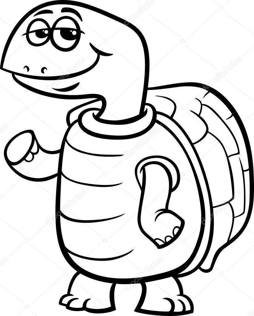 Kaplumbağa çizgi Film Boyama Sayfası Stok Vektör Izakowski 44276379