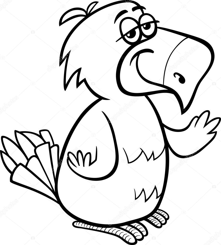 parrot bird cartoon coloring page — Stock Vector © izakowski #44333429