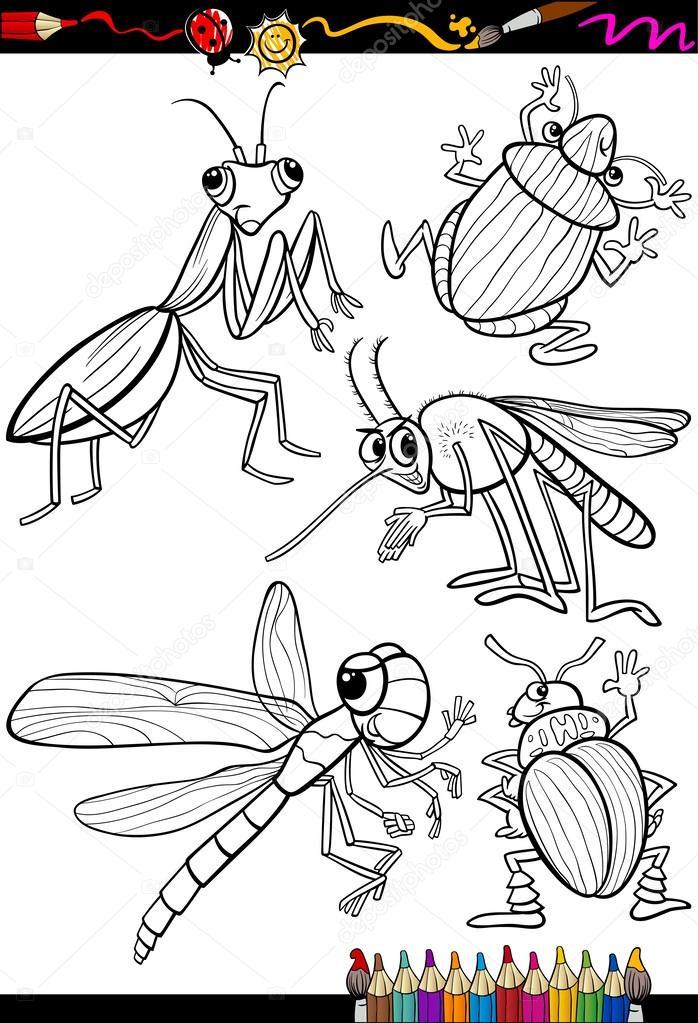 dibujos animados de insectos fijado para colorear libro — Vector de ...