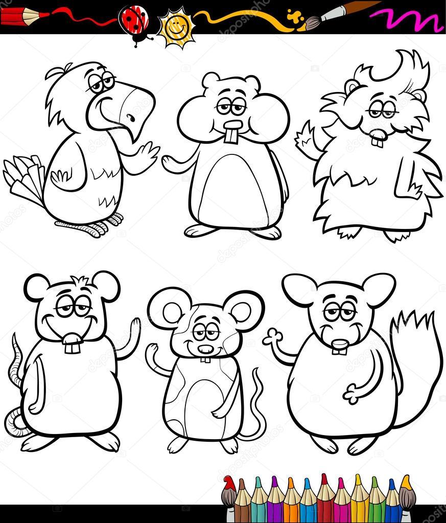 livro de colorir desenhos animados de bichinhos fofos vetor de
