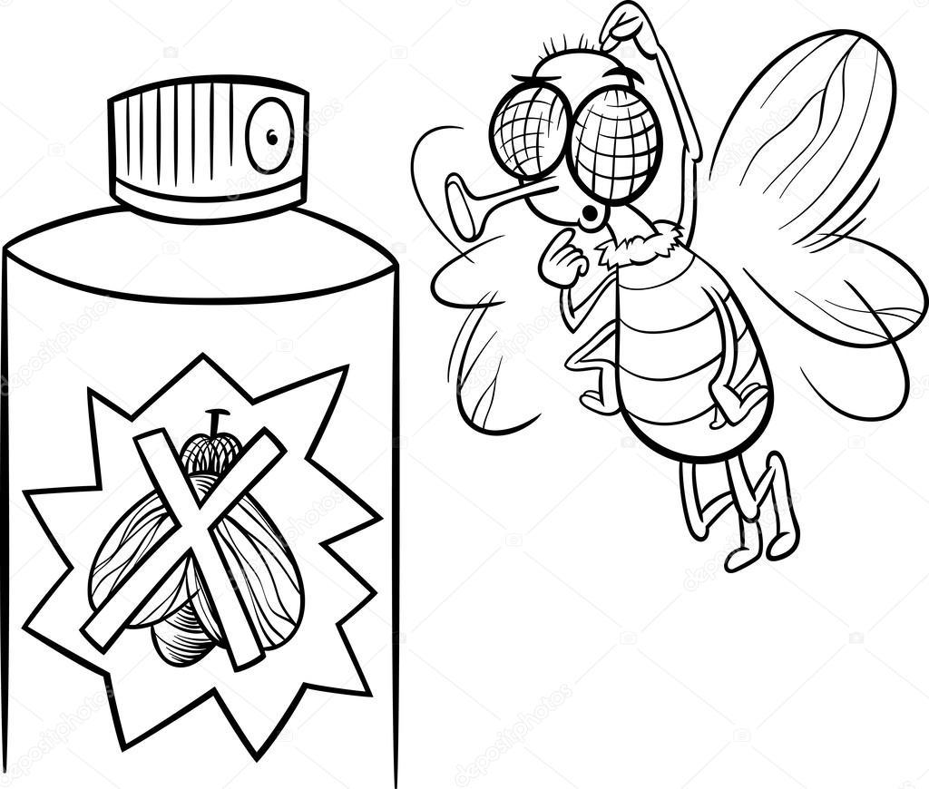 volar e insecticida Página para colorear — Archivo Imágenes ...
