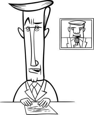 broadcaster on television coloring page
