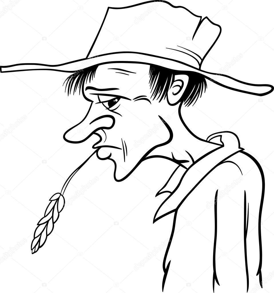 Página para colorear de dibujos animados de granjero — Archivo ...