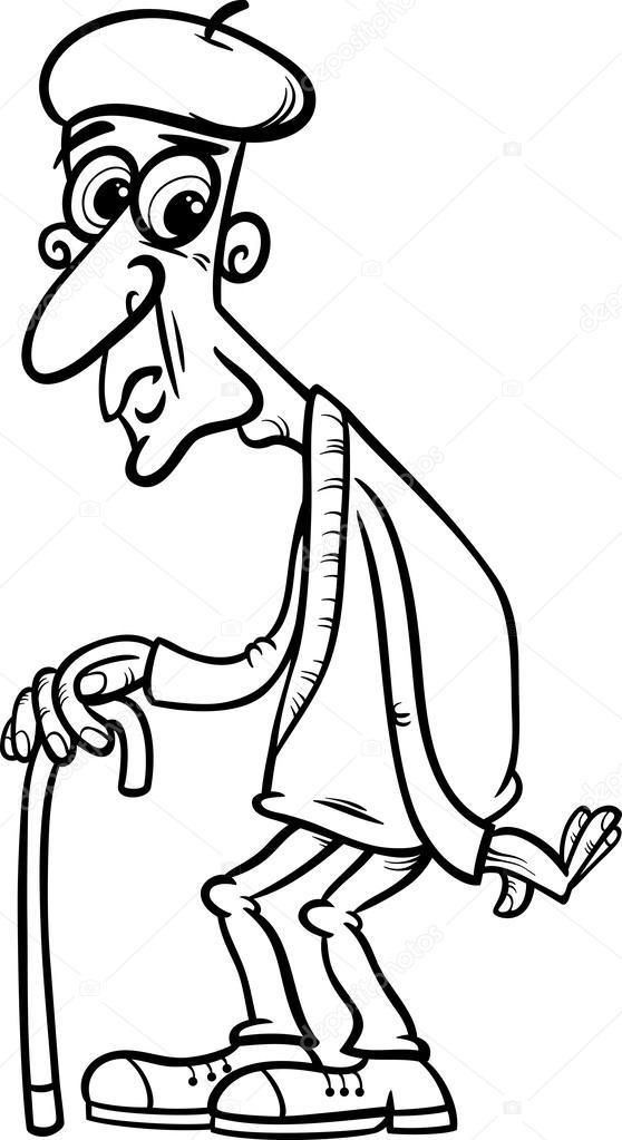 Dibujos Viejos Para Colorear Senior Con Caña De Página
