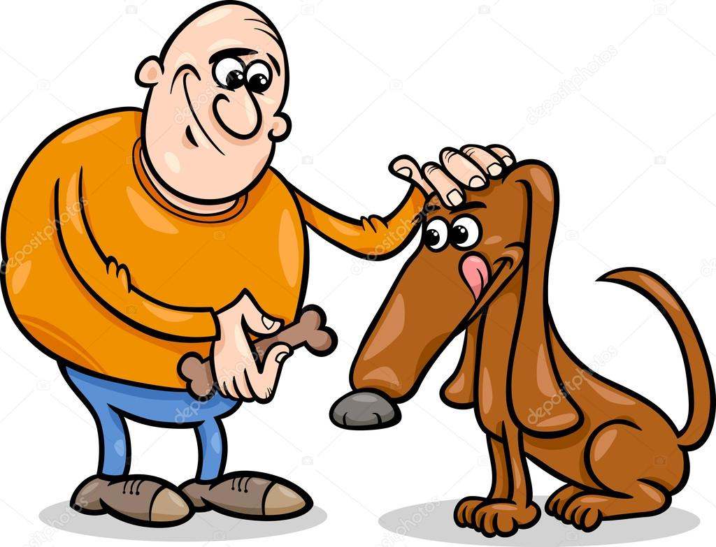 Mens En Hond Cartoon Afbeelding Stockvector Izakowski 45242973