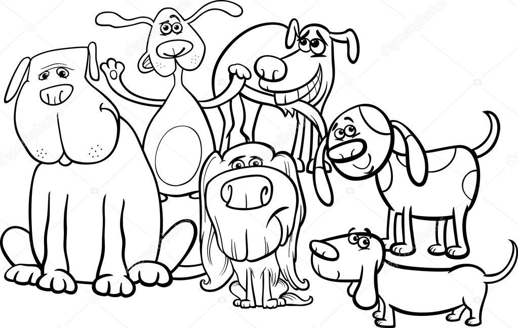 Página para colorear de dibujos animados perros grupo — Archivo ...