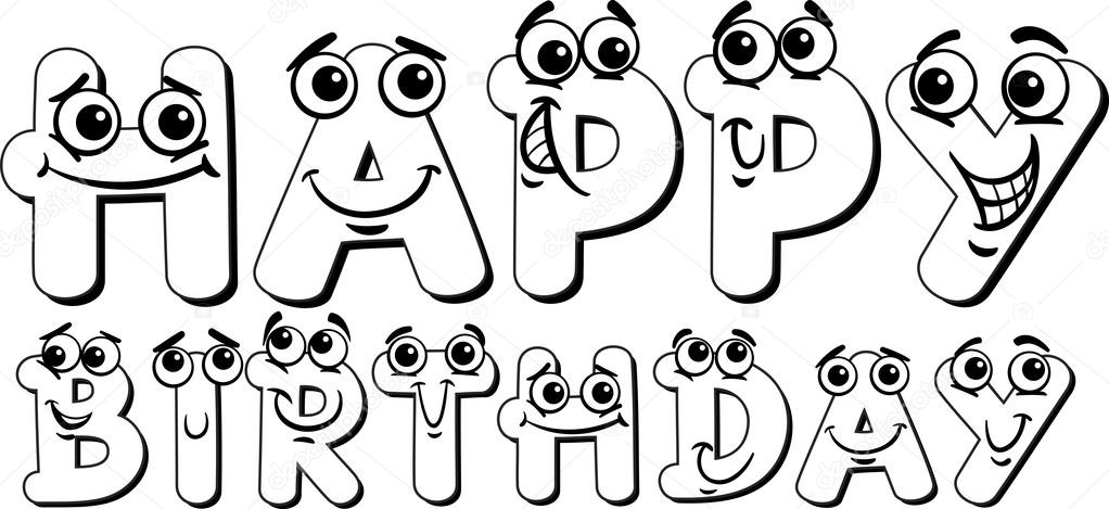 happy birthday sign coloring page stock vector izakowski 45600427