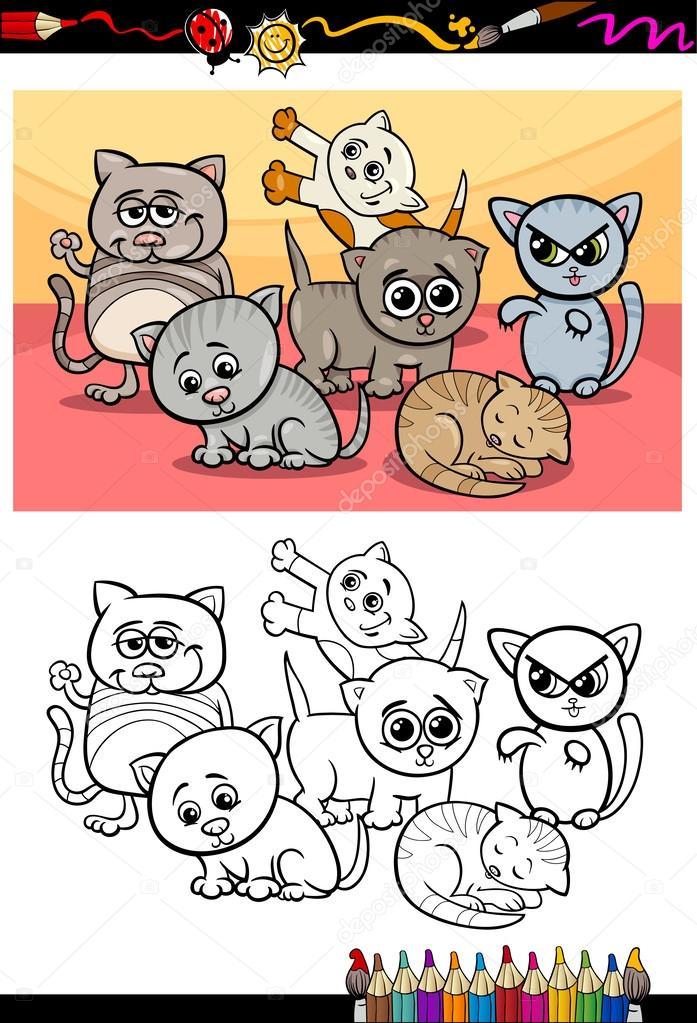 Yavru Kedi çizgi Film Boyama Kitabı Grubu Stok Vektör Izakowski