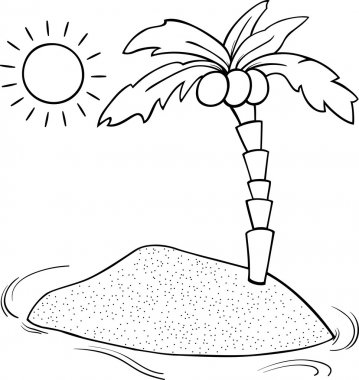 desert island cartoon coloring page