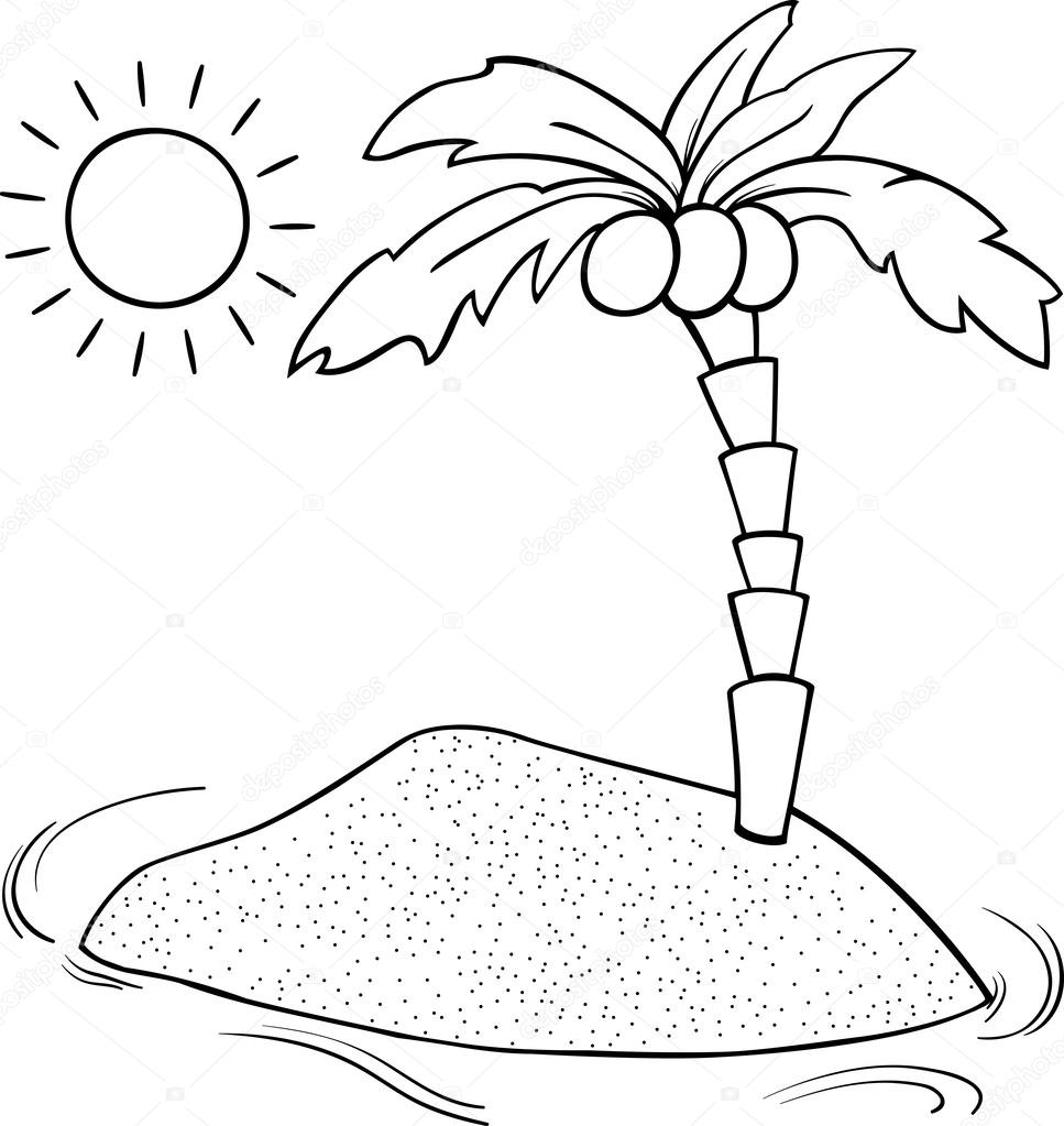 Página para colorear de dibujos animados de isla desierta — Archivo ...