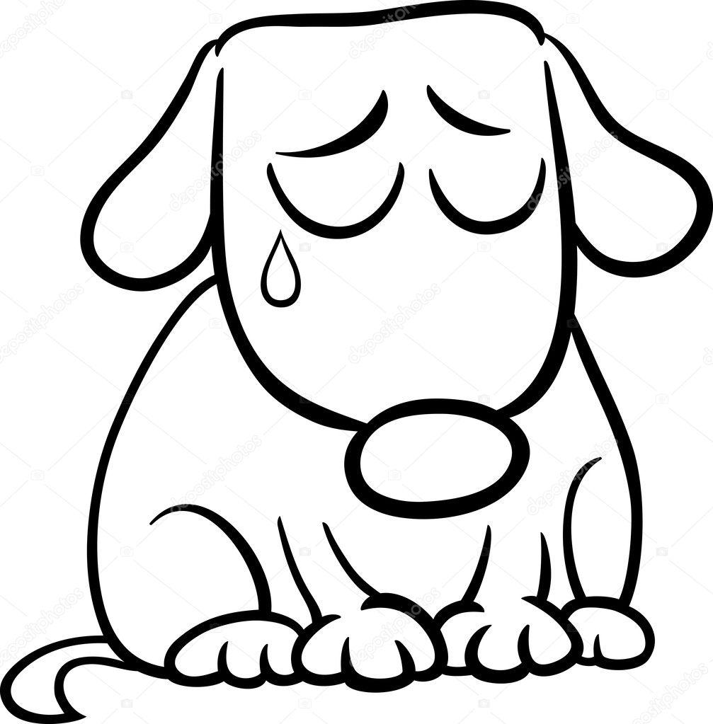 Página para colorear de dibujos animados de perro triste — Archivo ...