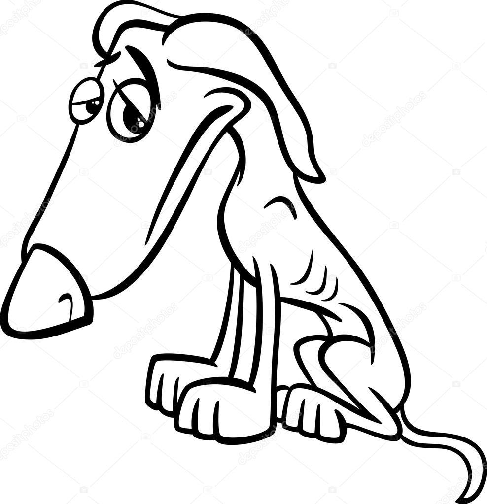 Povero cane cartone animato colorare pagina — vettoriali