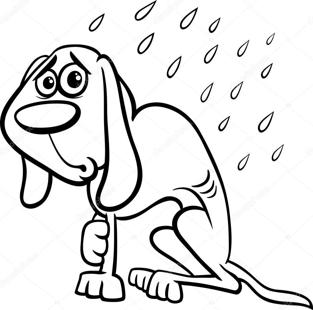 Evsiz Köpek çizgi Film Boyama Sayfası Stok Vektör Izakowski