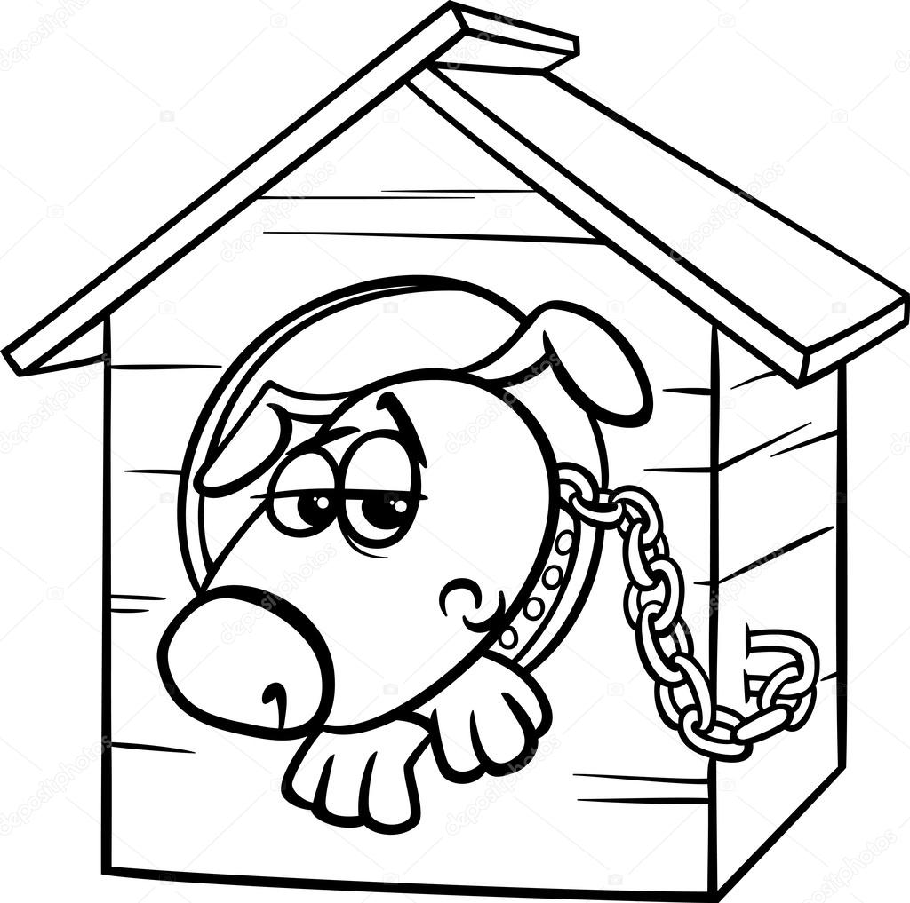 Pictures Doggy To Colour Sad Dog In Kennel Coloring Page