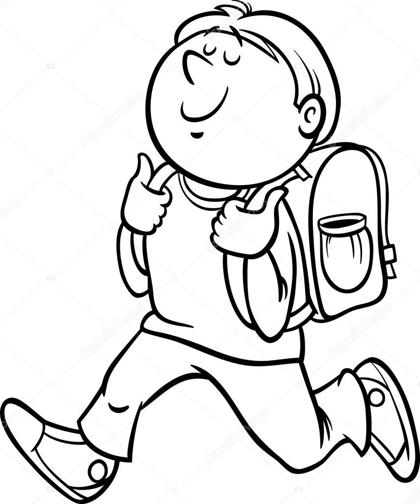 black and white cartoon illustration of primary school student boy with knapsack for coloring book vector by izakowski - Student Coloring Pages