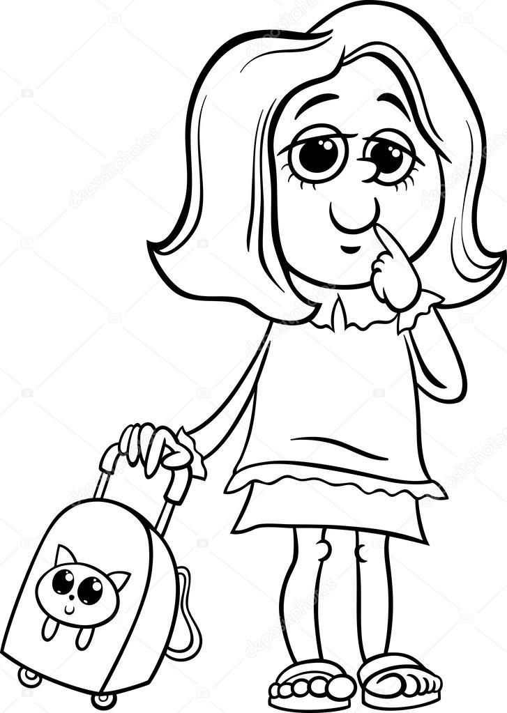 Dibujos: niña estudiante para colorear | Página para colorear de ...