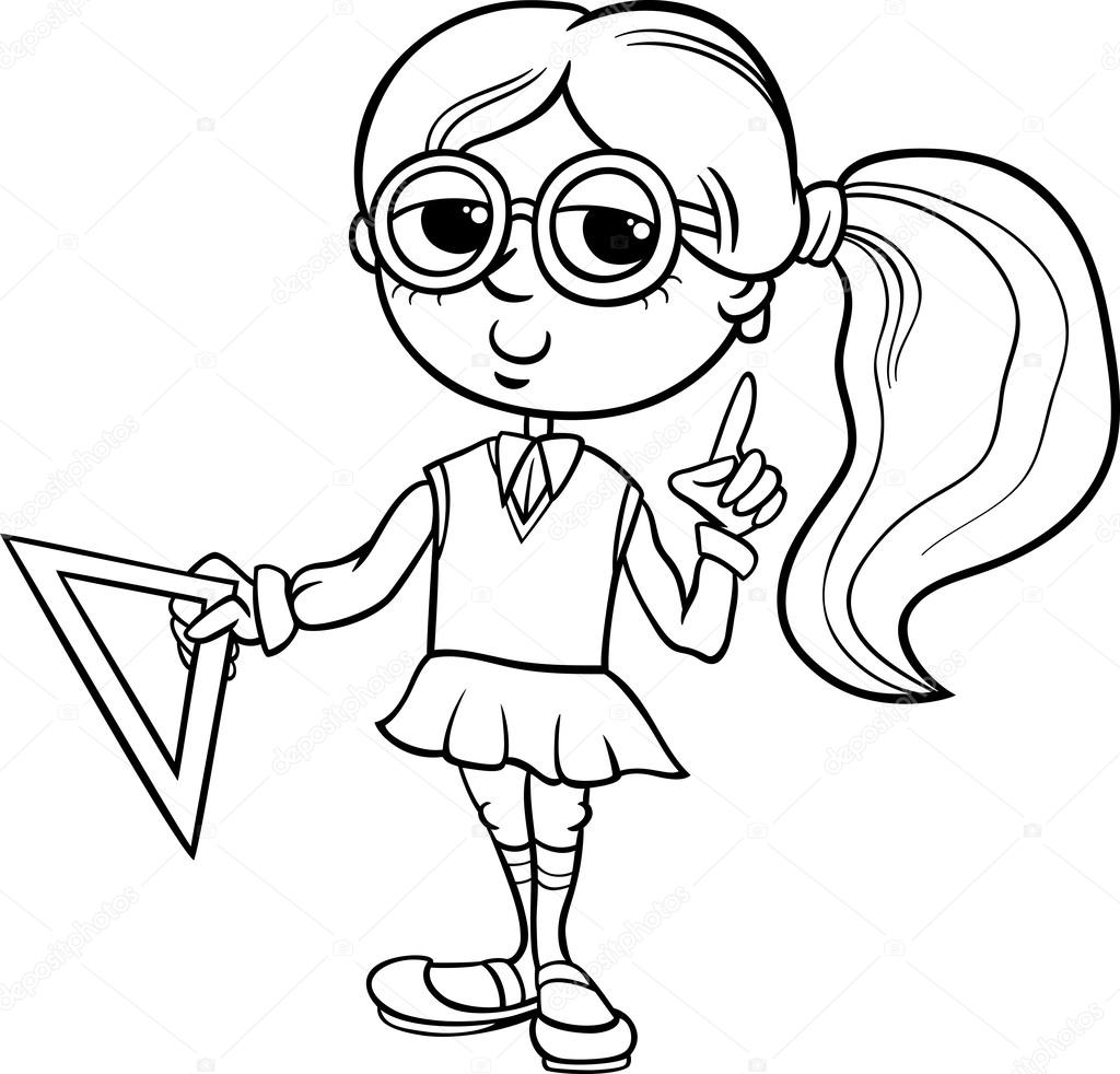 coloring pages for elementary school | grade school girl coloring page — Stock Vector © izakowski ...