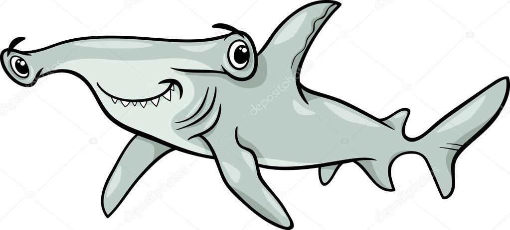 Ilustración de dibujos animados de tiburón martillo — Vector de ...