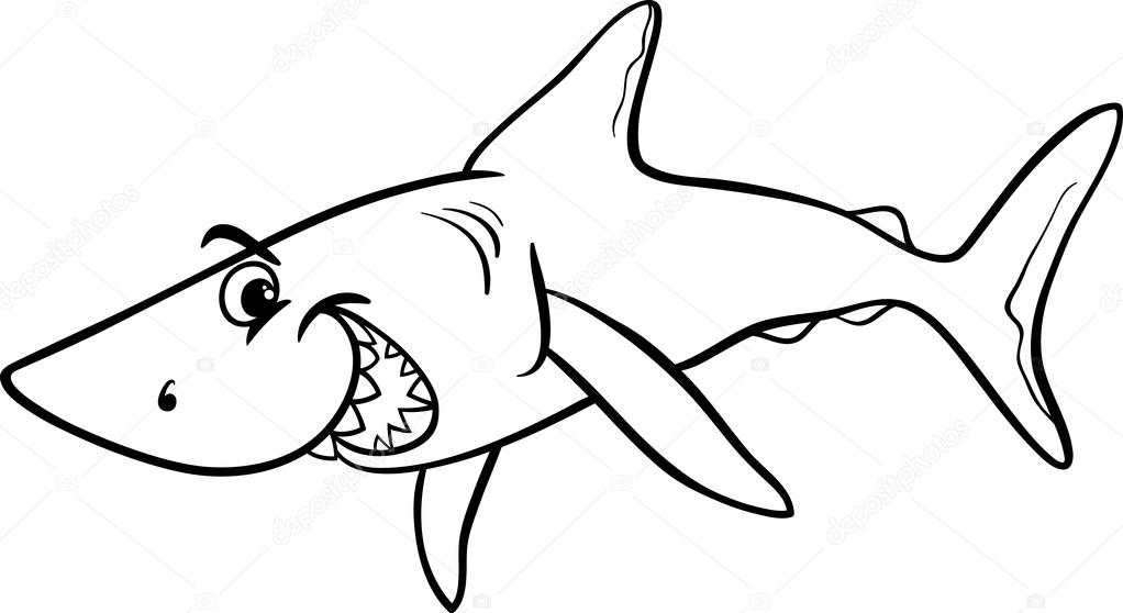 Black And White Cartoon Illustration Of Shark Fish Sea Life Animal For Coloring Book Vector By Izakowski