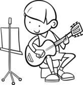 Fotografie Junge mit Gitarre Färbung Seite