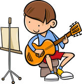 Fotografie Junge mit Gitarre Cartoon-illustration
