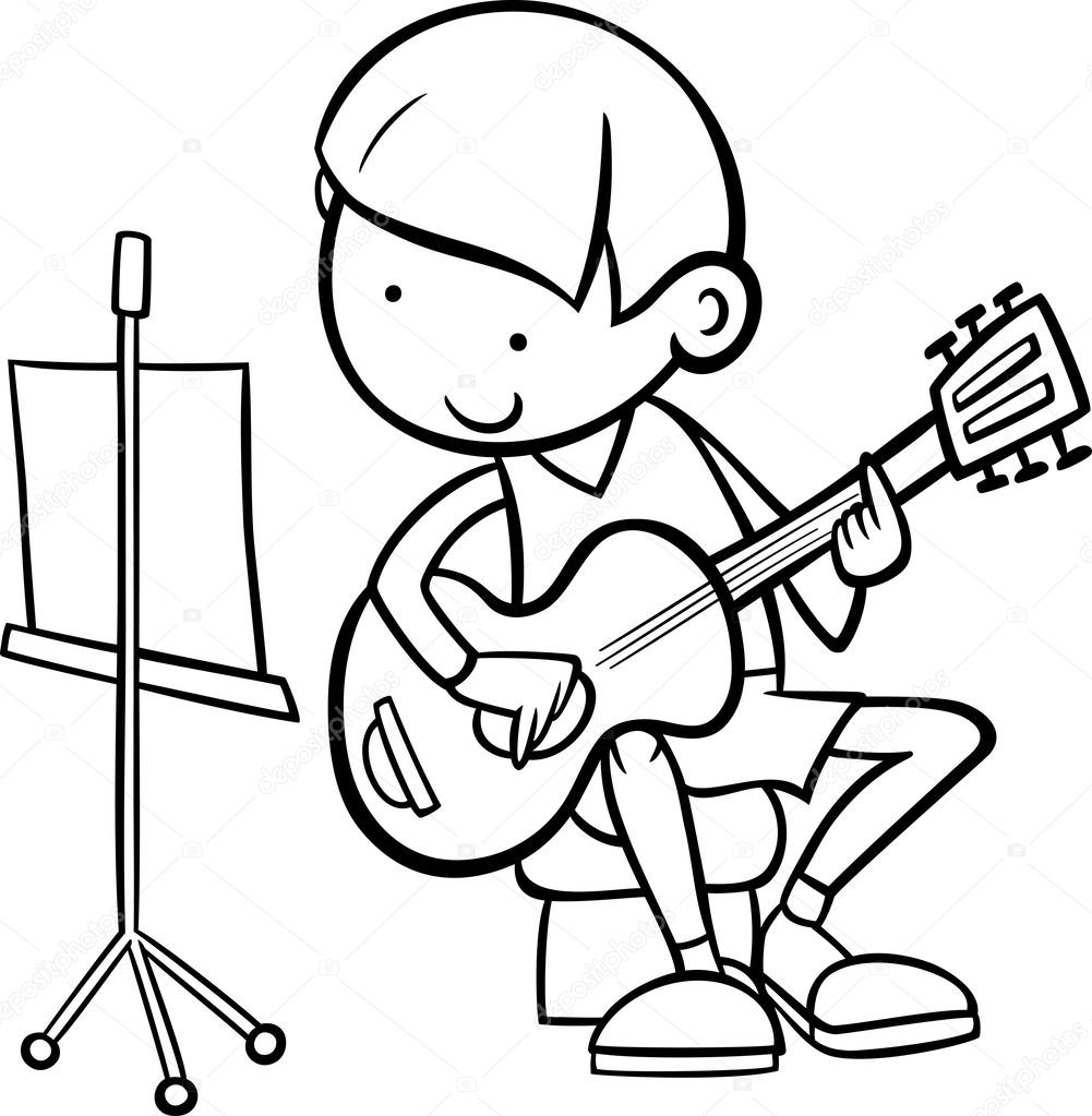 Black And White Cartoon Illustration Of Cute Boy Playing On The Guitar For Coloring Book Vector By Izakowski
