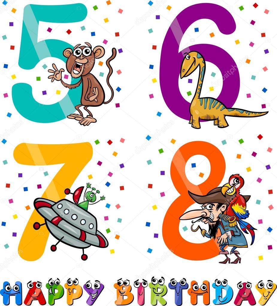 diseño de dibujos animados de cumpleaños para niño — Vector de stock ...