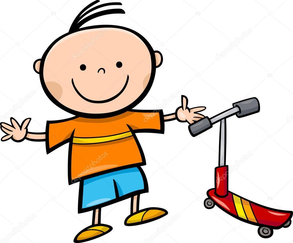 Dibujos Scooter Animados Niño Con Scooter De Dibujos Animados