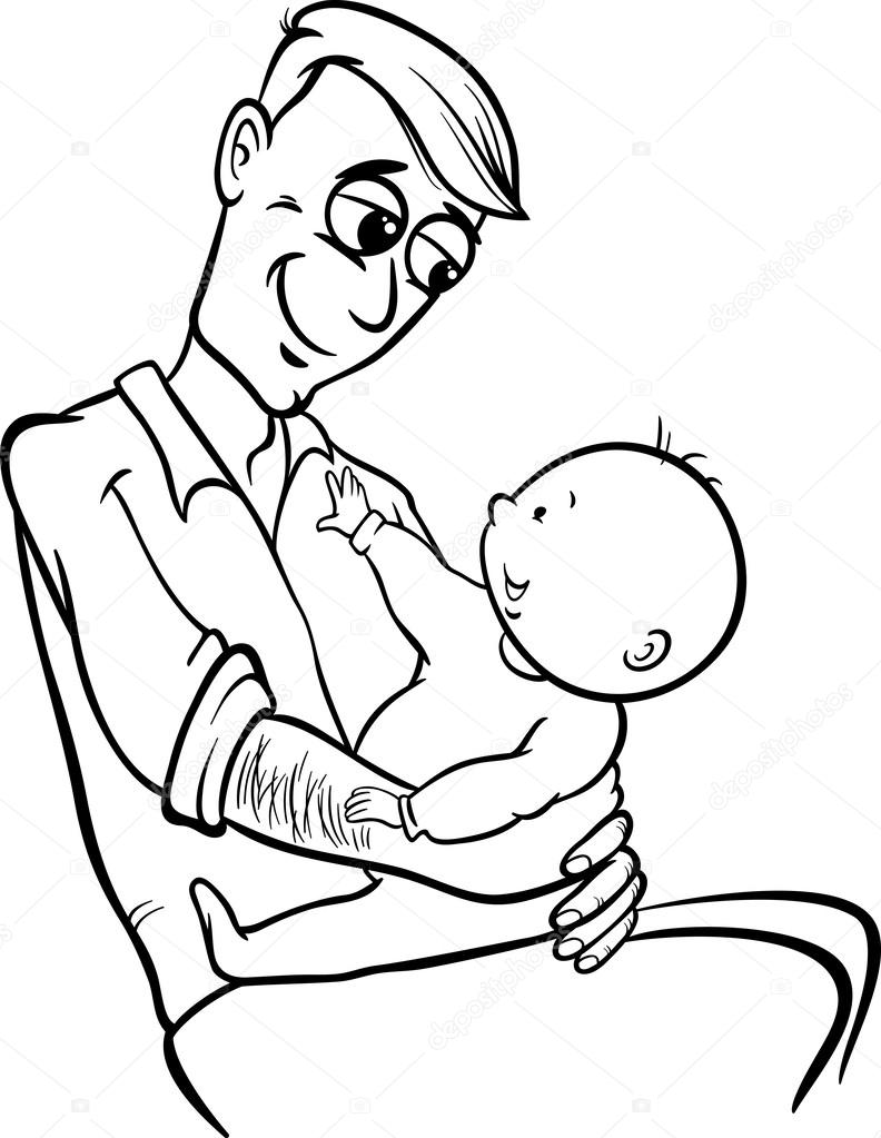 father with baby cartoon coloring page u2014 stock vector izakowski