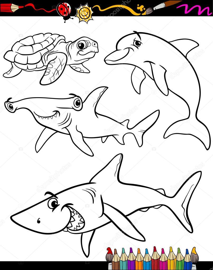 libro para colorear de dibujos animados de animales de la vida del ...
