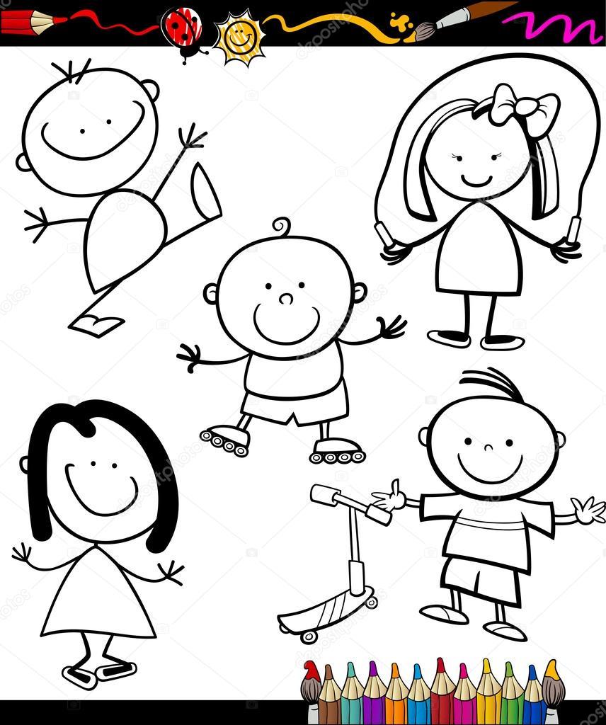 Mutlu çocuklar çizgi Film Boyama Kitabı Stok Vektör Izakowski