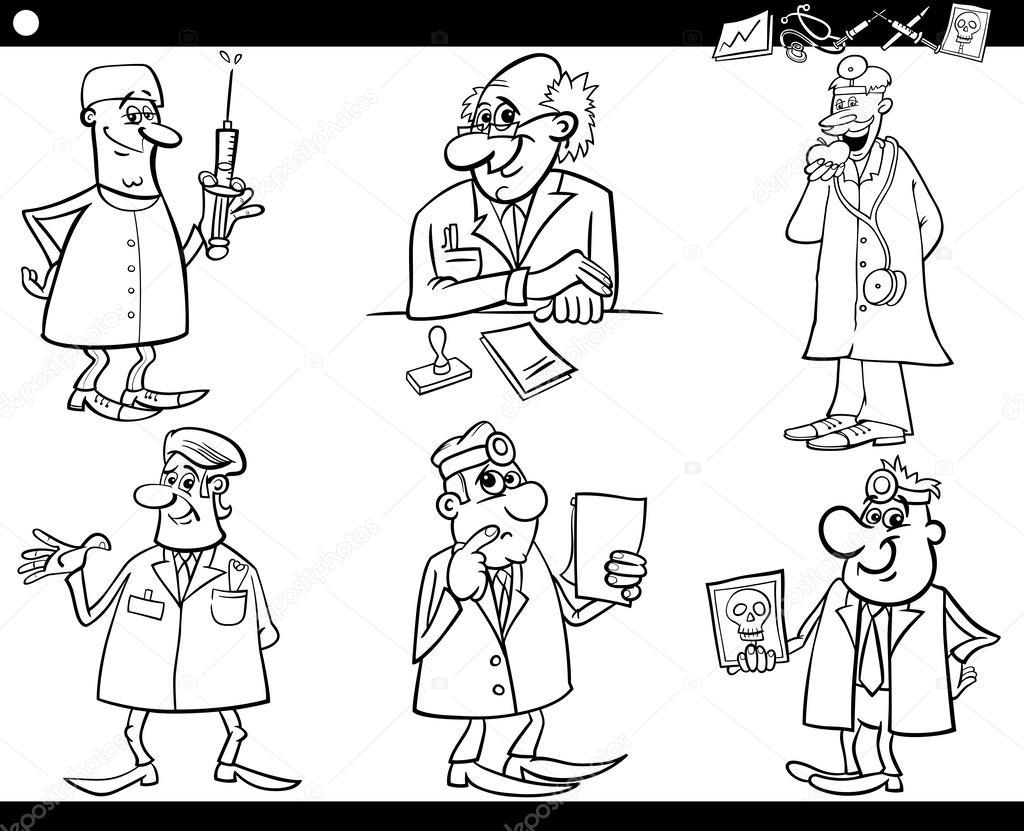 personal médico conjunto libro para colorear — Vector de stock ...
