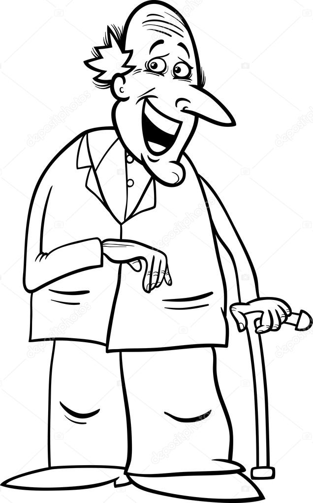 Kleurplaat Oudere Mensen Senior Met Stok Kleurplaten Pagina Stockvector
