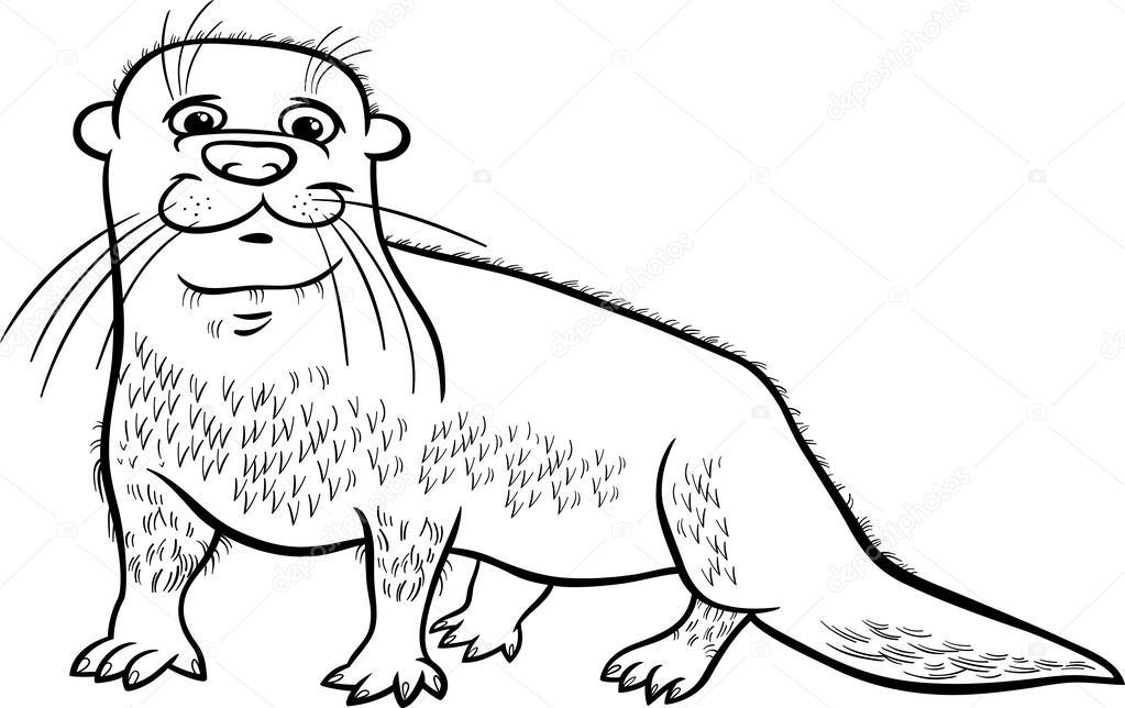 otter dierlijk beeldverhaal kleurplaat — stockvector