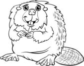 Photo beaver animal cartoon coloring page