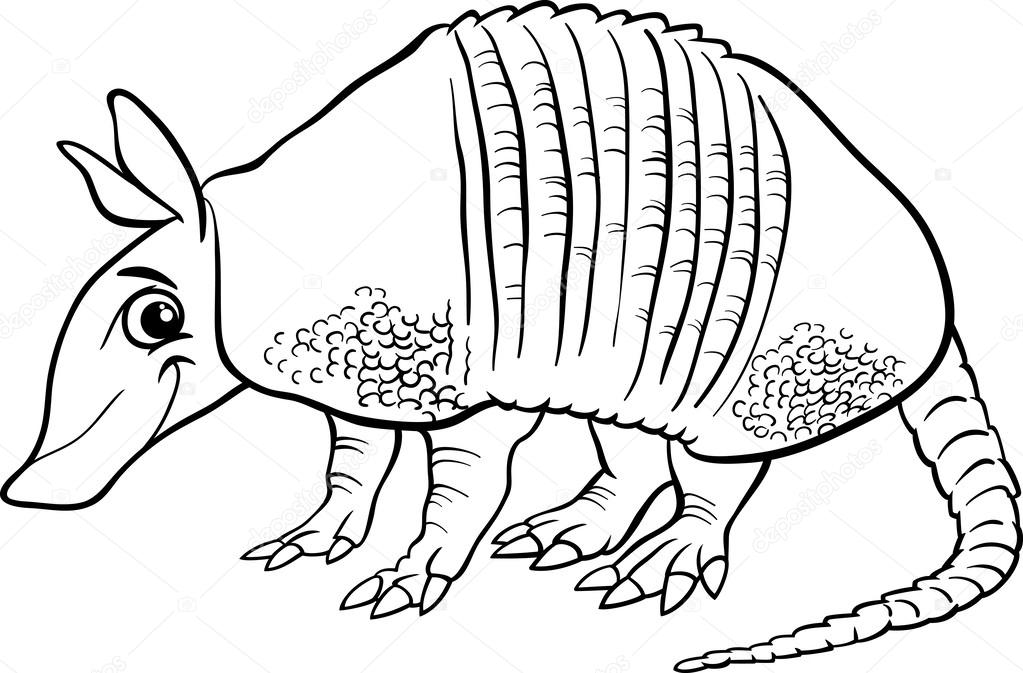 Armadillo Animal Cartoon Coloring Page U2014 Stock Vector