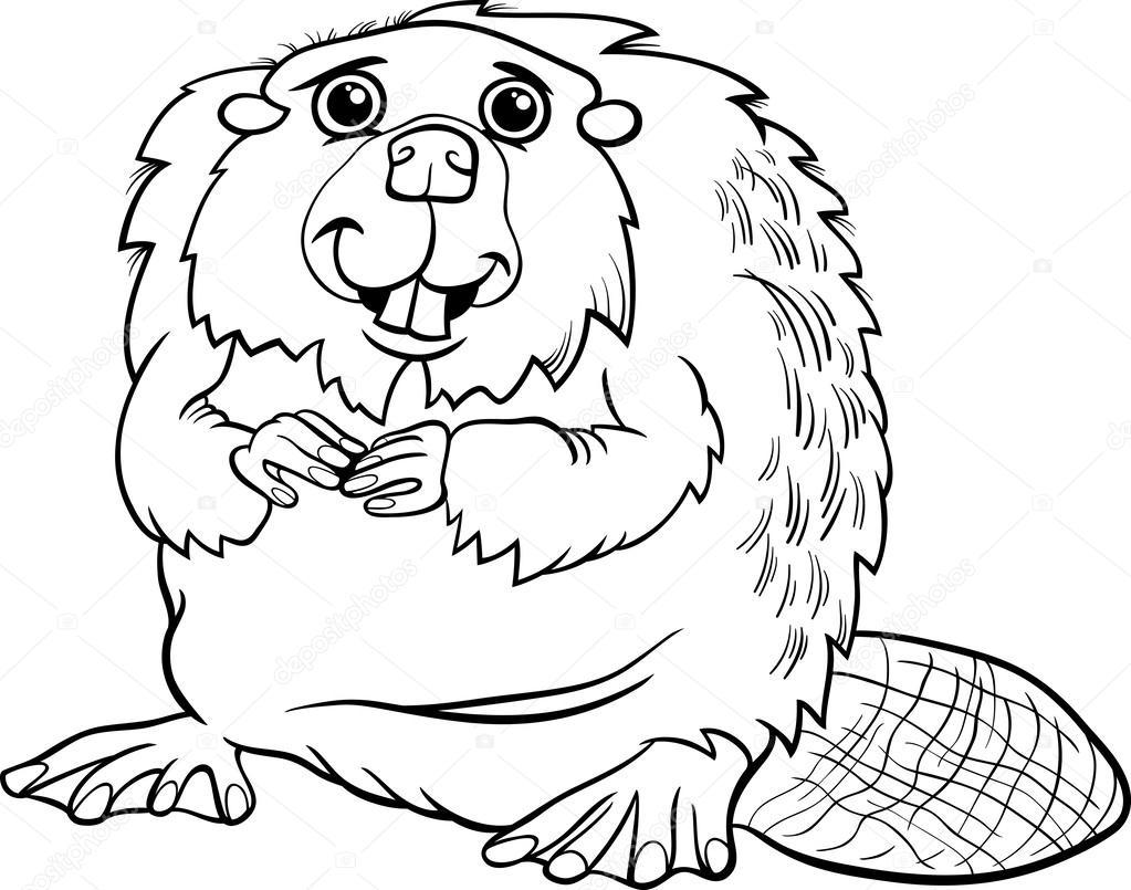 Página para colorear de dibujos animados animales Castor — Archivo ...