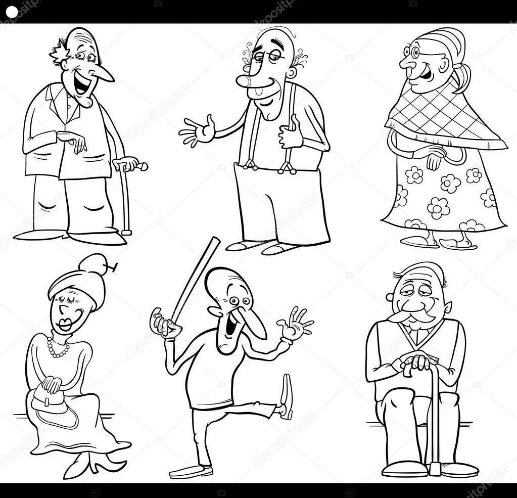 las personas mayores establece libro para colorear de dibujos