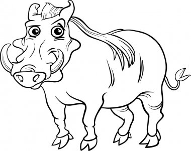 Black and White Cartoon Illustration of Funny Warthog Animal for Coloring Book stock vector