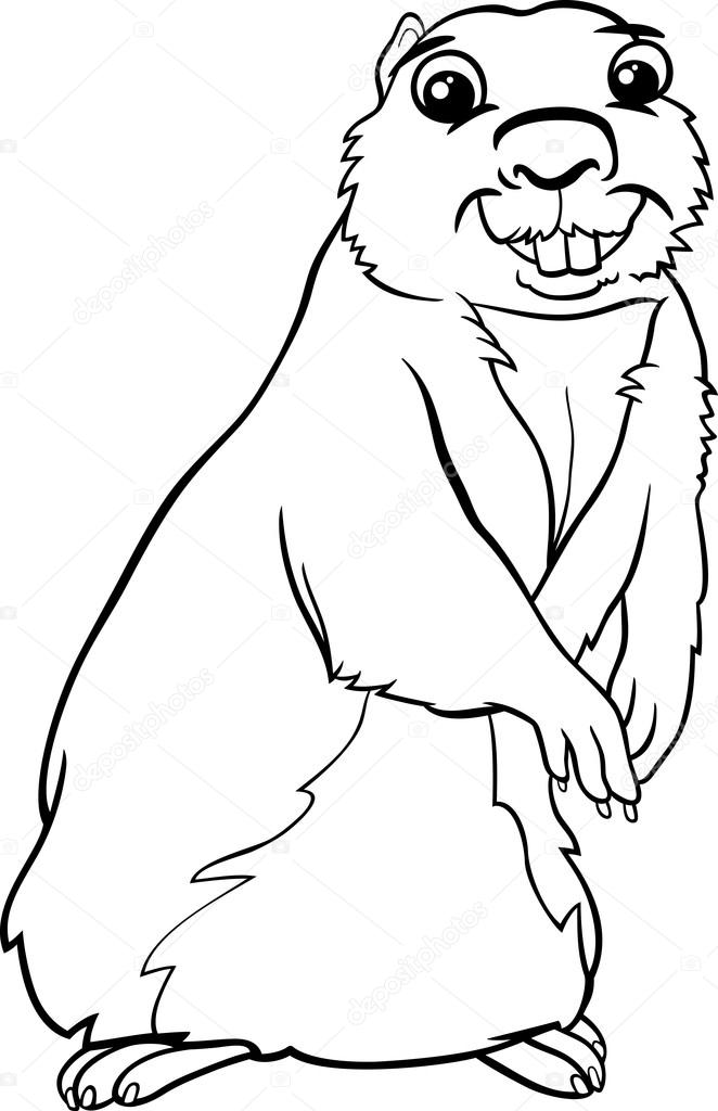Página para colorear animales de dibujos animados de Gopher — Vector ...