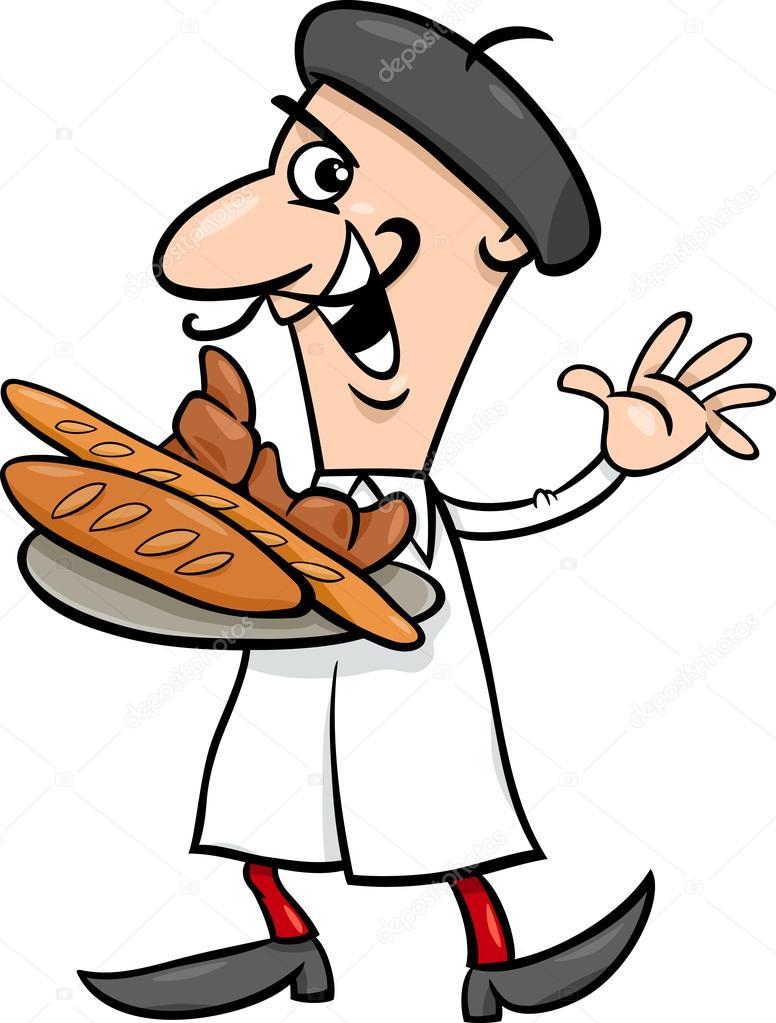 Französische küche comic  französischer Bäcker-Cartoon-illustration — Stockvektor © izakowski ...