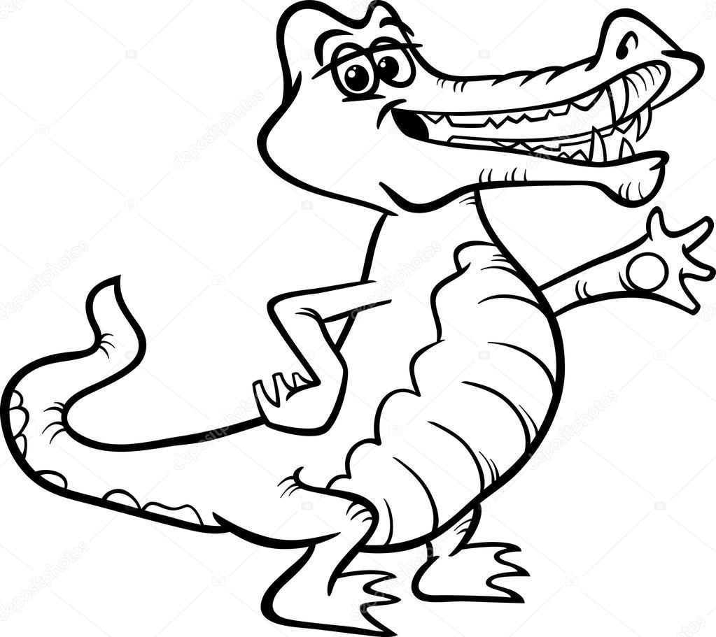 libro de colorear de animales de dibujos animados de cocodrilo ...