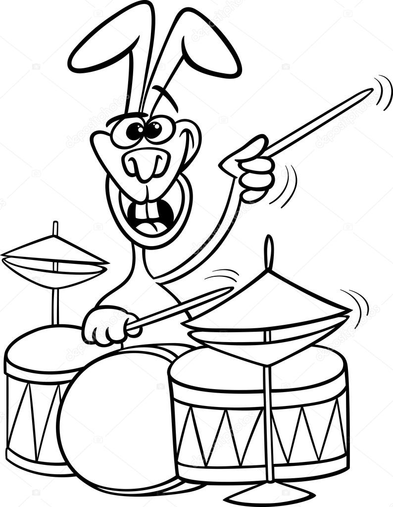 Coloring pictures drums - Black And White Cartoon Illustration Of Funny Bunny Playing Rock On Drums For Coloring Book Vector By Izakowski