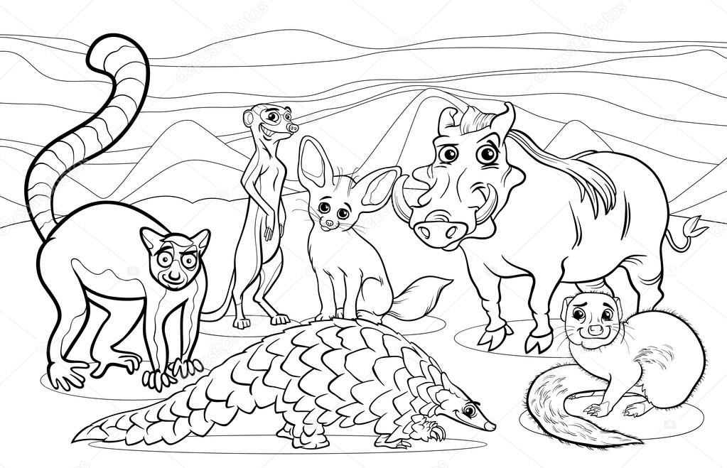 African animals cartoon coloring page — Stock Vector