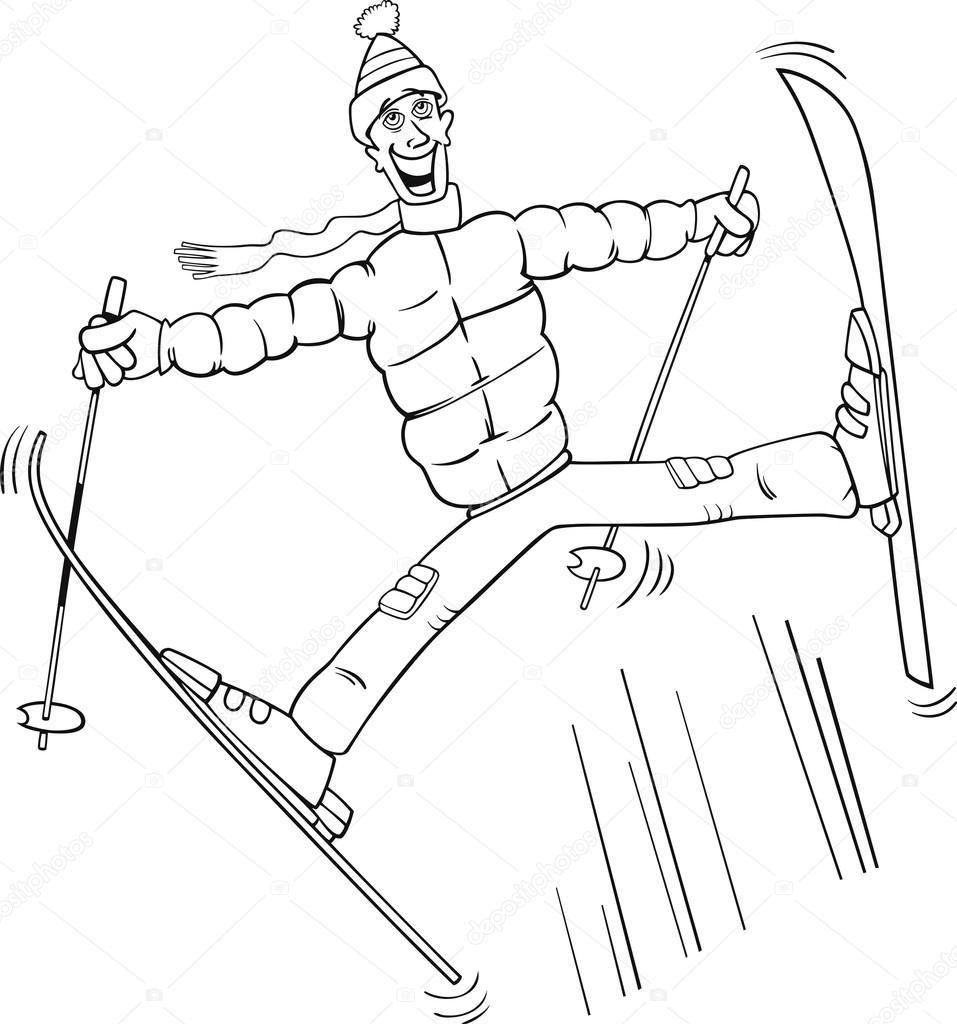Man Springen Op Ski Kleurplaten Pagina Stockvector C Izakowski