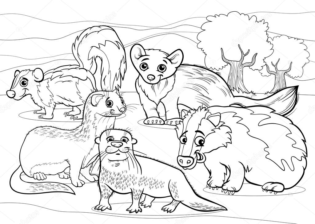 Página para colorear de dibujos animados animales mustélidos ...