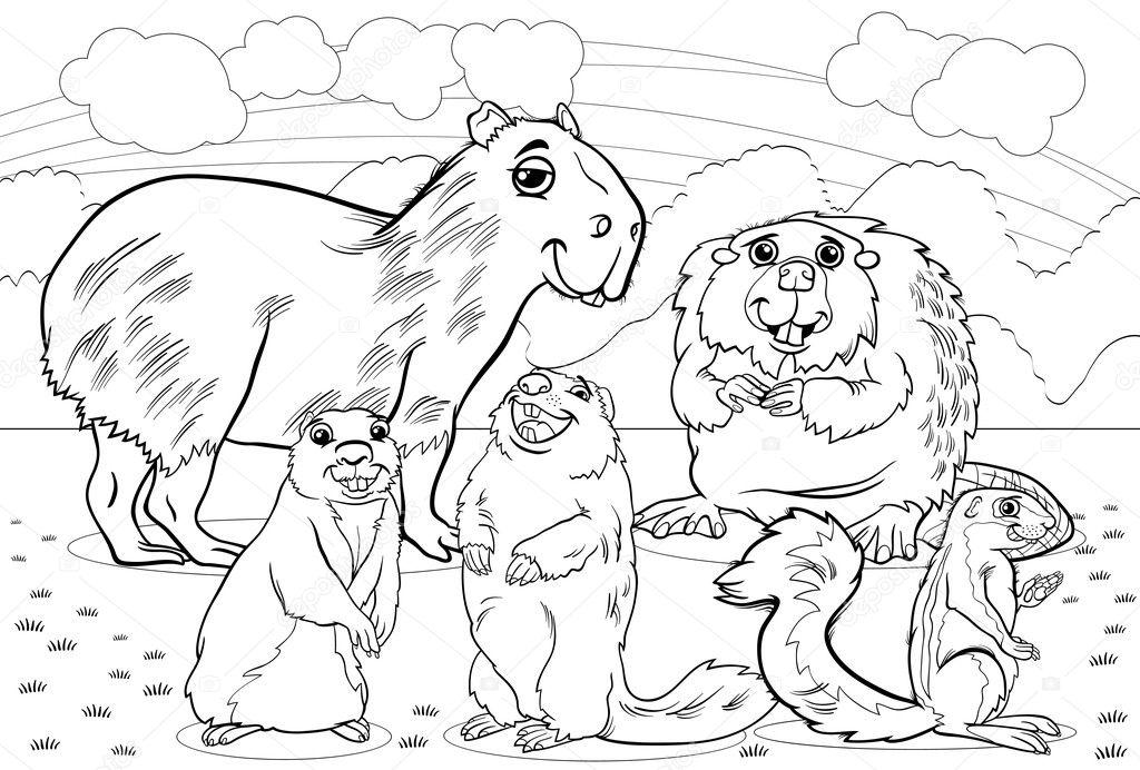 Página para colorear de dibujos animados de animales roedores ...