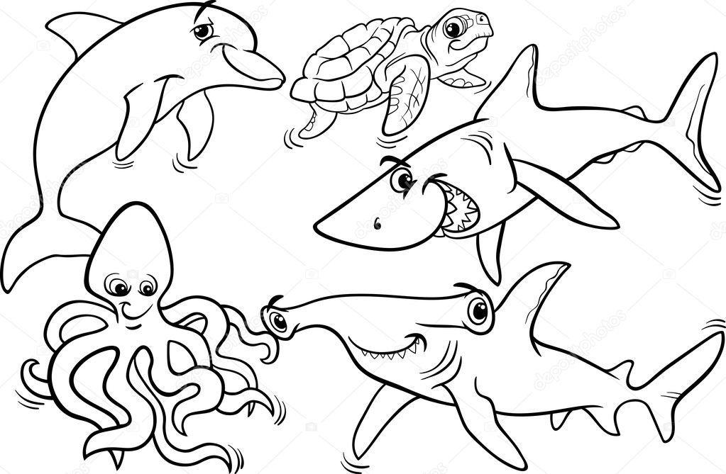 sea life animals and fish coloring page — Stock Vector © izakowski ...