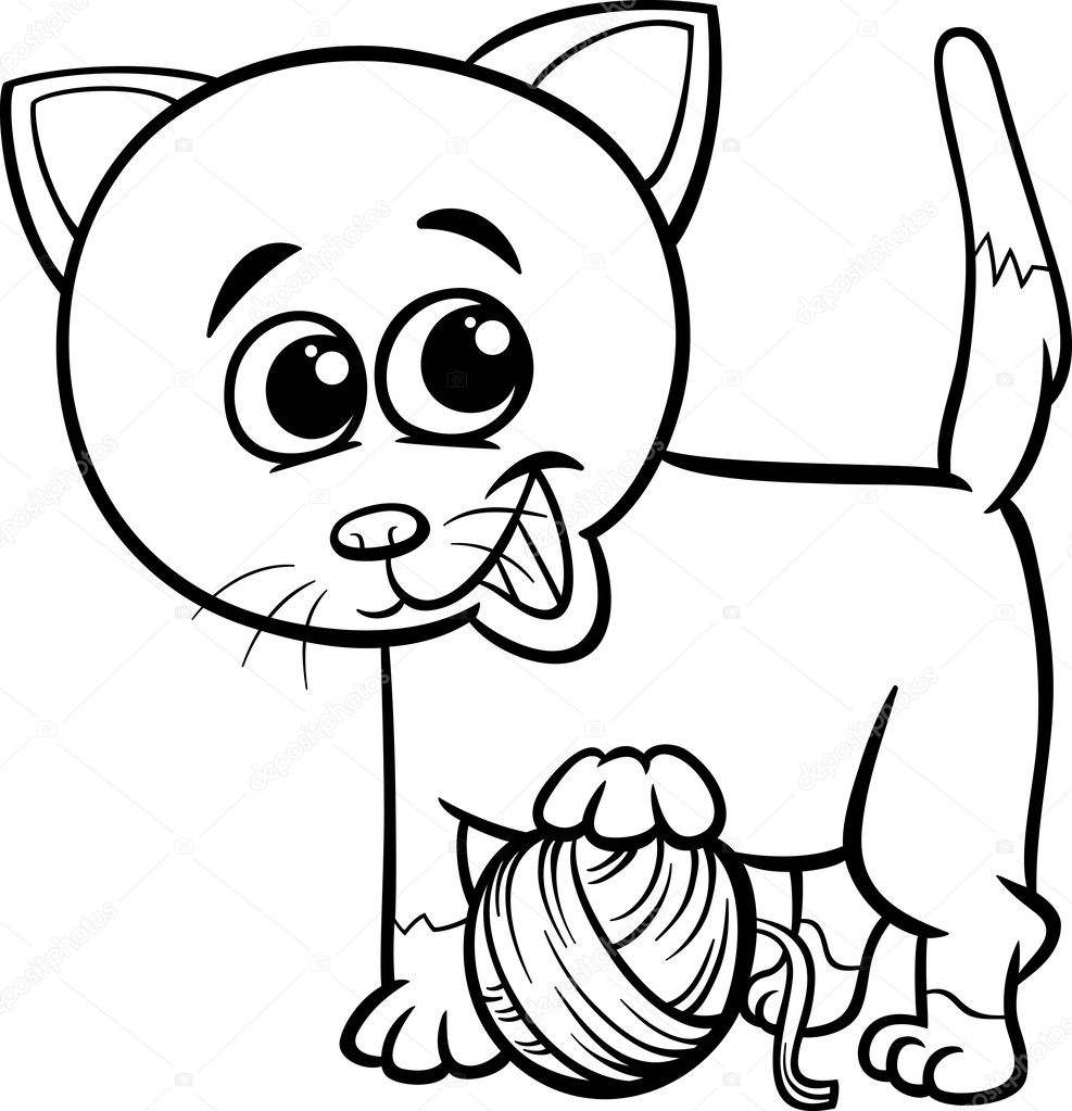 black and white cartoon illustration of cute cat playing with ball of wool for coloring book vector by izakowski