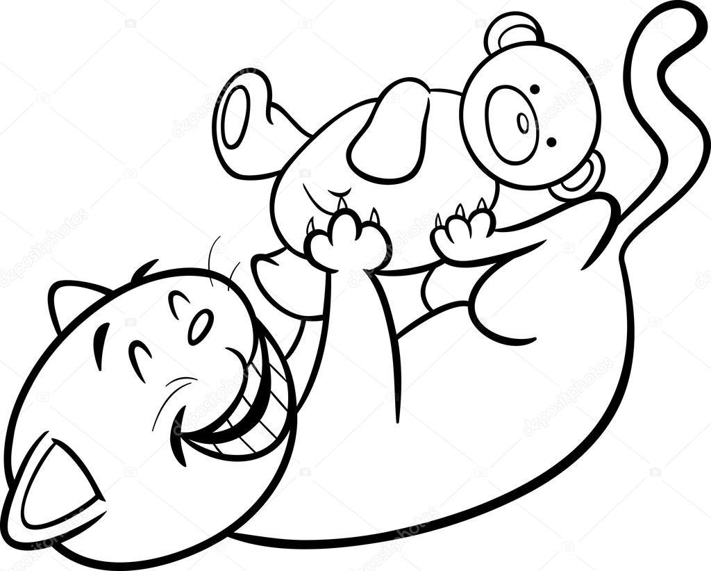 Página para colorear de dibujos animados gato jugando — Vector de ...